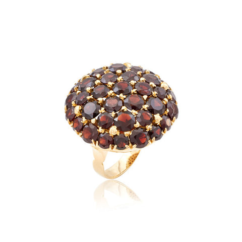 Retro Garnet Dome Cluster Ring