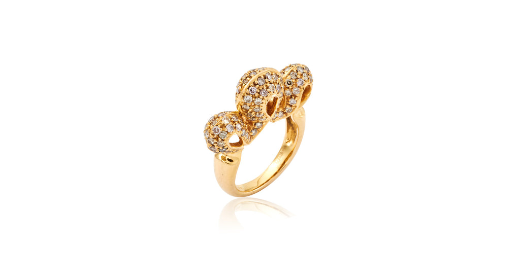 Gold & Pavé Diamond Architectural Ring