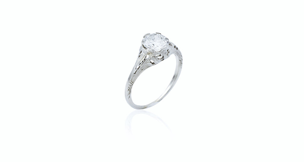 Diamond Engagement Ring with Antique-Style Setting