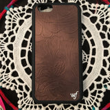 Brown Leather iPhone Case - Wildflower