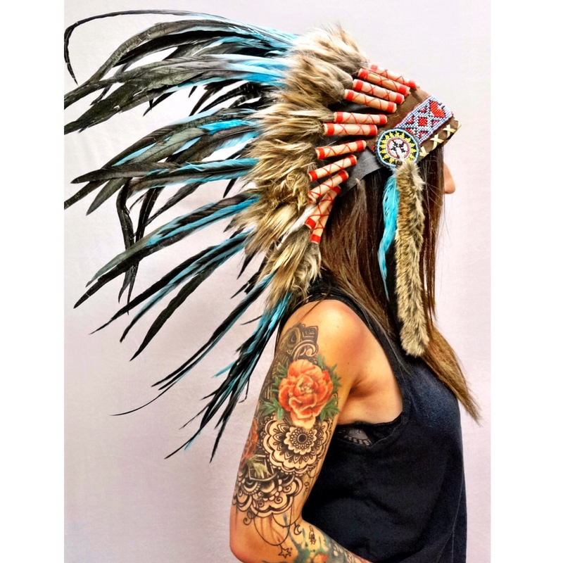 Turquoise Native Headdress - Wildflower