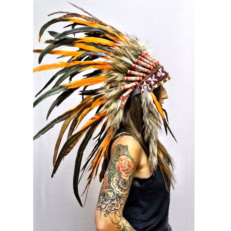 Orange Native Headdress - Wildflower