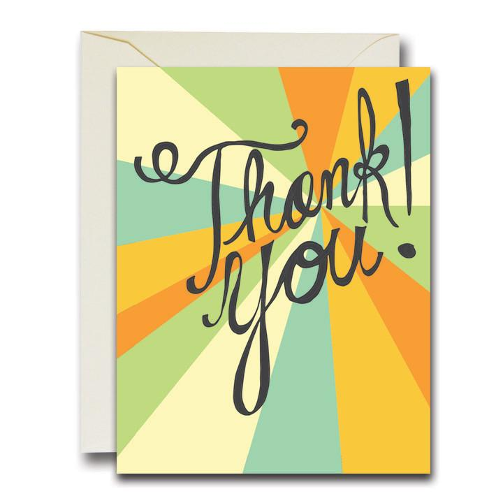 A simple, hand scripted 'Thank You' paired with a colorful, modern style background. Printed by The Rainbow Vision on folded A2 paper measuring 4.25