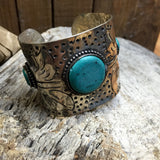 Etched Turquoise Cuff - Wildflower