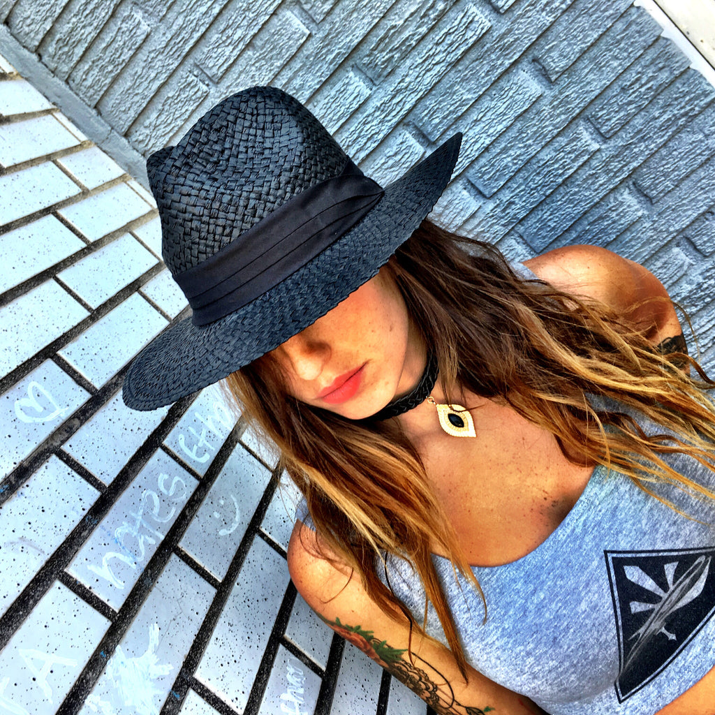 Black Panama Hat - Wildflower