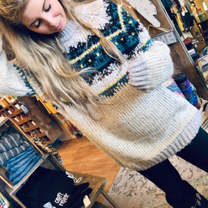 Hit the hot chocolate bar in the Ski Lodge Sweater.  The perfect snow travel partner that will keep you cozy, warm and styled.  100% Acrylic