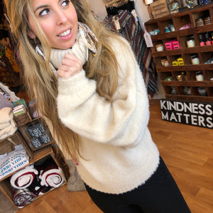 Cozy Soft Ivory Turtle-Neck Sweater