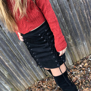 Lace Up Mini Skirt - Black Suede