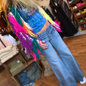 Blue jean baby Queen, say hello to Free People's Palma Indigo Pant.  Retro inspired low-rise wide leg jeans feature 2 front patch buttoned pockets with flaps and frayed raw hems.  The perfect jean to add to your denim collection.  78% Cotton, 21% Polyester, 1% Spandex