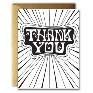 "A sophisticated yet funky Thank You card printed on 100# cream card stock on folded A2 paper measuring 4.25"" x 5.5"".  Comes with a blank interior and an antique gold envelope that was produced in the US using renewable energy sources."