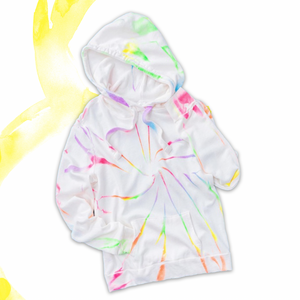 Hit the beach and hit the couch in these fun Neon Tie Dye Swirl Hoodie.  A bright swirl of blue, green, yellow, pink and purple sits on a cozy white cotton base.  Make it a set by pairing it with the matching joggers for a lounge worthy look.