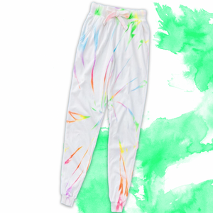 Hit the beach and hit the couch in these fun Neon Tie Dye Swirl Joggers.  A bright swirl of blue, green, yellow, pink and purple sits on a cozy white cotton base.  Make it a set by pairing it with the matching hoodie for a casual look.