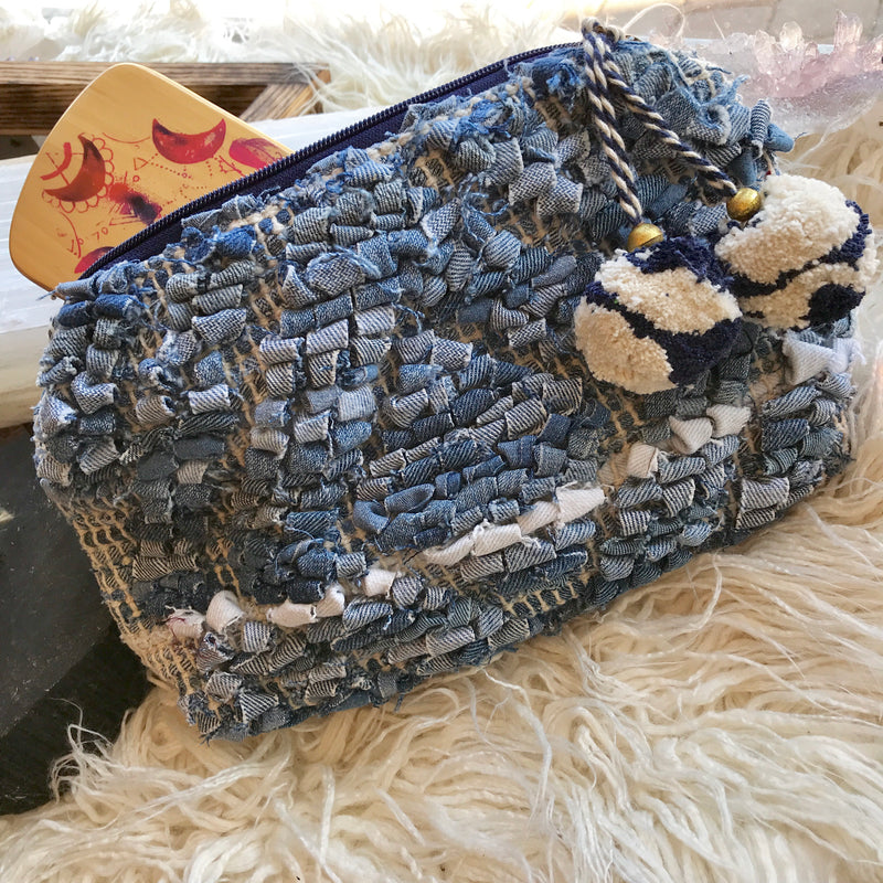 International Denim Clutch