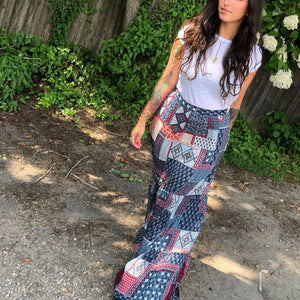 Bandana inspired, our Gather Maxi skirt is patchwork patterned perfection.  With an easy zipper up back, inner half-lining & two front pockets, pair it with your vintage rock n' roll tee & an oversized cardigan.  This high waisted skirt is an awesome piece for your work to play day.