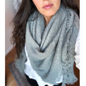 Textured and lightweight, warm and deliciously soft, the Mohair Blanket Scarf has been hard to keep in stock.  This is one of the coziest winter scarves available in three essential solid colors.