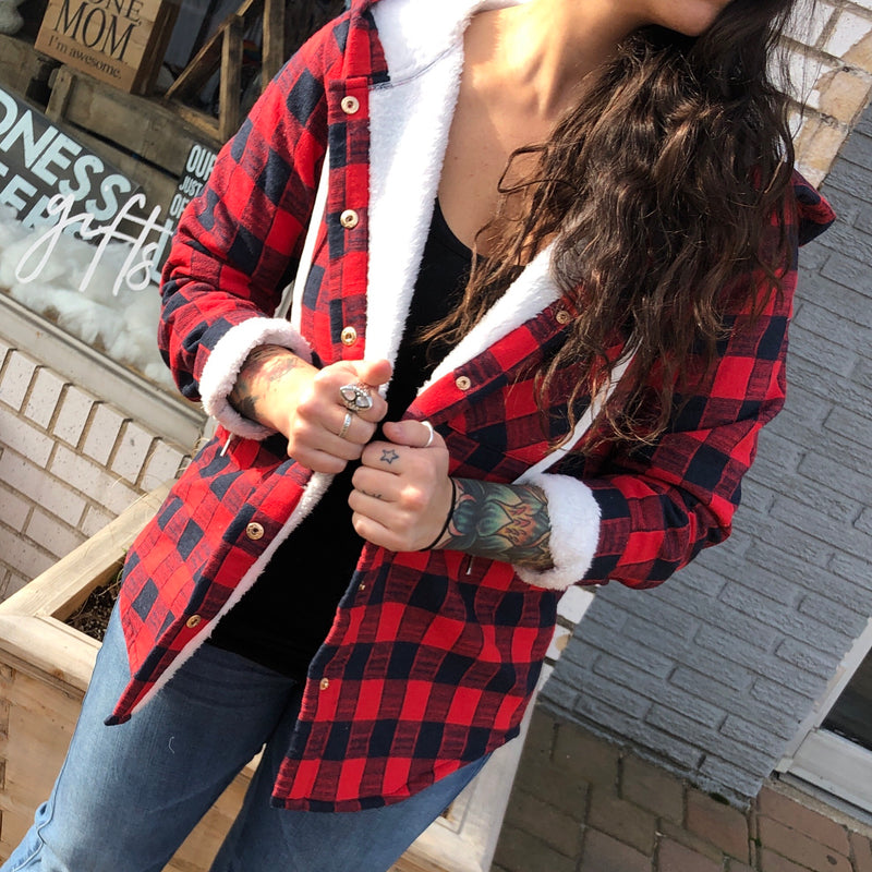 Fleece Lined Plaid Jacket