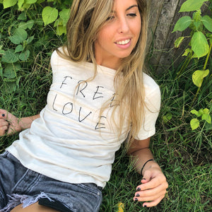 Like Joey Tribbiani, we too are into giving, receiving and sharing love in our Free Love stitched embroidered graphic tee.  100% Cotton  Made in USA