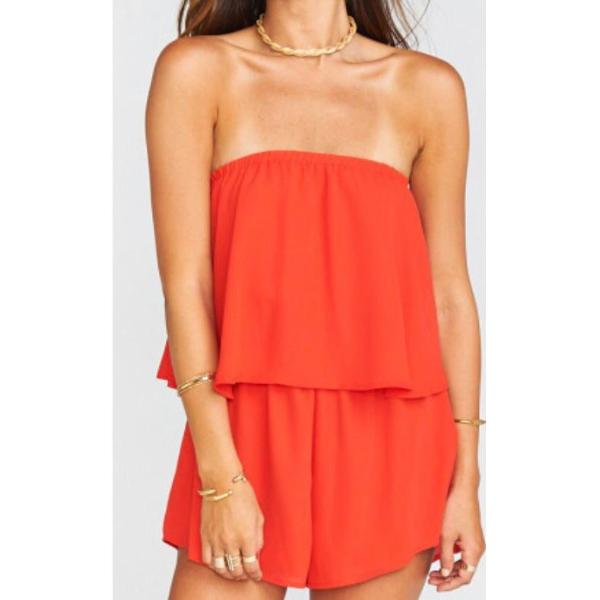 Show Me Your Mumu's strapless Thelma Romper flatters any bust with her flair and panache.  Slip this lined, easy wear one-piece on over your bikini for a quick beach to bar outfit.  The Tequila Sunrise Crisp fabrication will perfectly compliment your new tan.  Great with slides, strappy sandals or wedges.