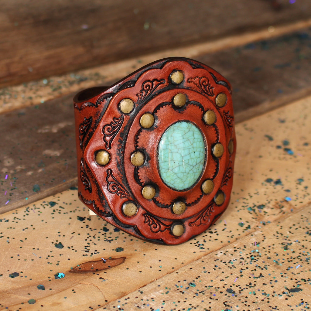 Boho Turquoise Leather Cuff - Wildflower
