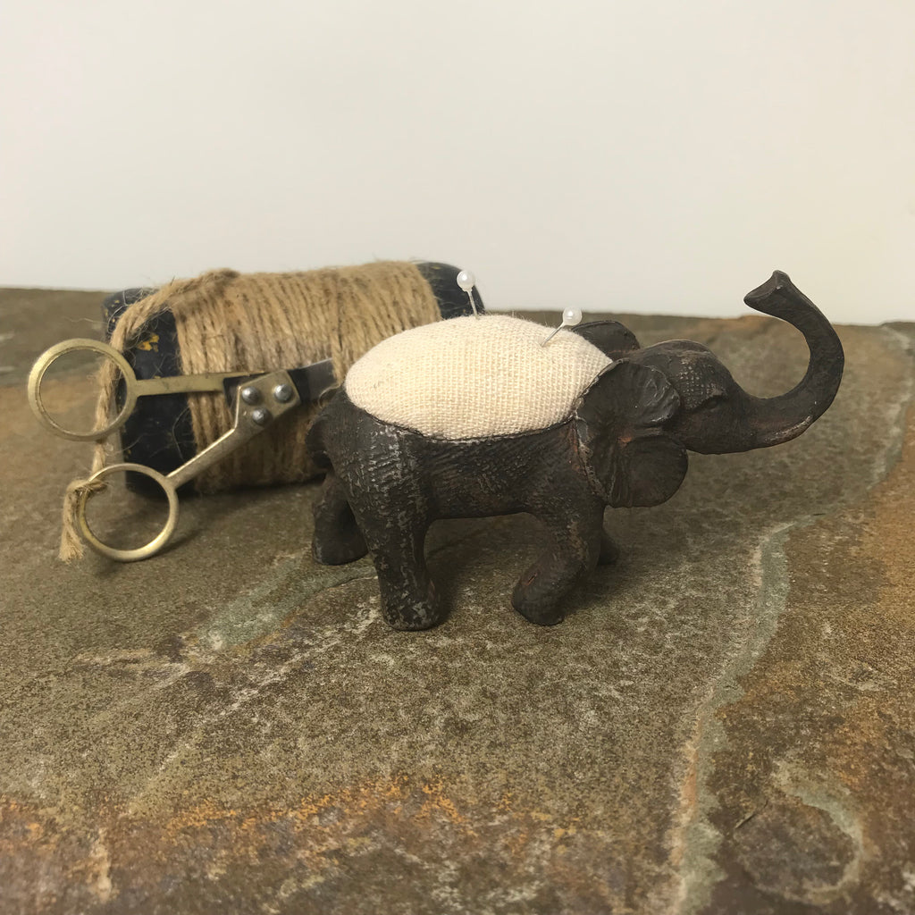 Pewter Elephant Pin Cushion