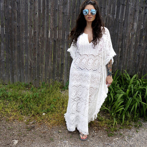 Summer ready, the breathable lace crocheted style Athena Kaftan is the perfect beach front cover up.  Don't go all summer without this full length semi sheer statement piece. 100% Cotton - Athena Kaftan - Wildflower Long Island