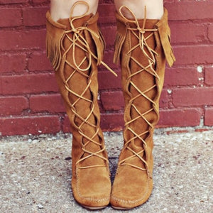 Front Lace Knee High Moccasin - Wildflower