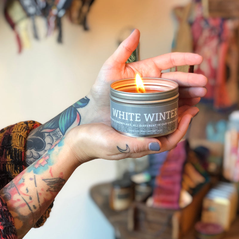 White Winter Candle