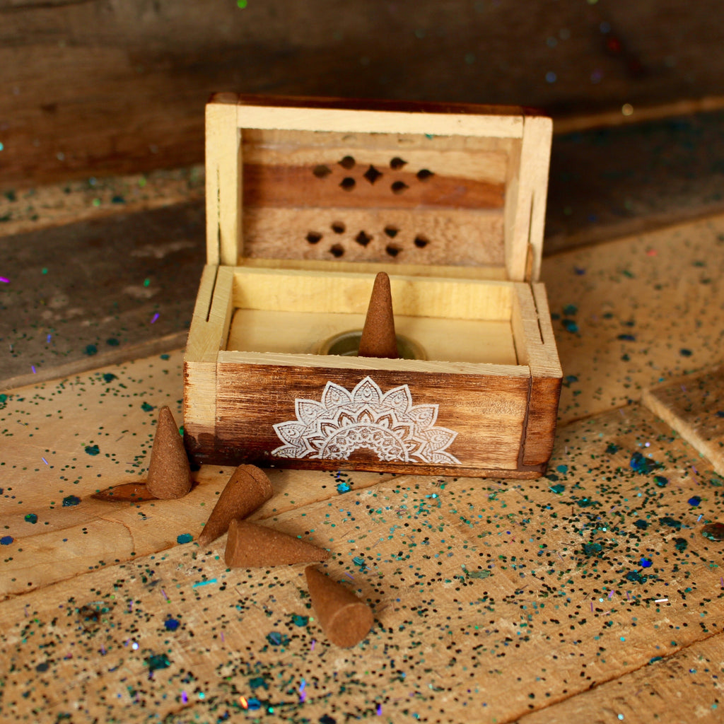 Wooden Incense Cone Box - Wildflower