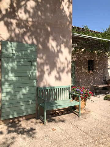Green bench in Provence France
