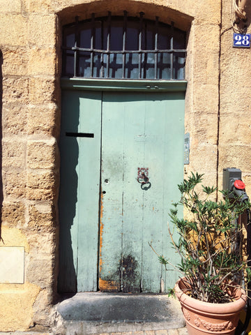 Green door in Provence France