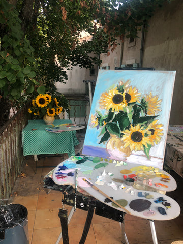 Painting Sunflowers in Provence, France