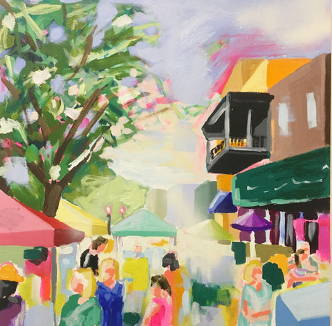 Stroll Through the Market 18x18 SOLD