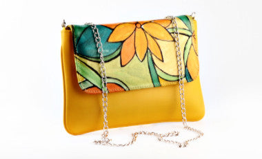 Yellow Floral Envelope Sling Clutch