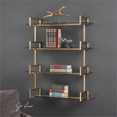 iron wall shelf featuring an antiqued, gold leaf finish