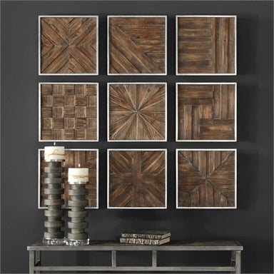 a collage of nine unique three-dimensional pieced patterns of rustic distressed fir wood framed in silver