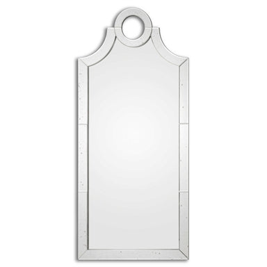 The Rhea Mirror has a mirror and frame that is constructed of lightly antiqued, beveled mirror tiles. This simplistic and elegant mirror would be just the piece you need for your bathroom, bedroom, and more.