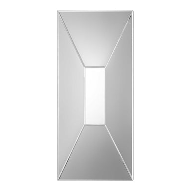 contemporary, geometrically shaped mirror with petite bevels that surround a flat center mirror