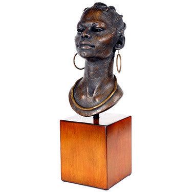 African statue, black woman sculpture, afrocentric decor
