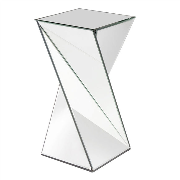Twist Mirrored Accent Table, Contemporary accent table, mirrored pedestal