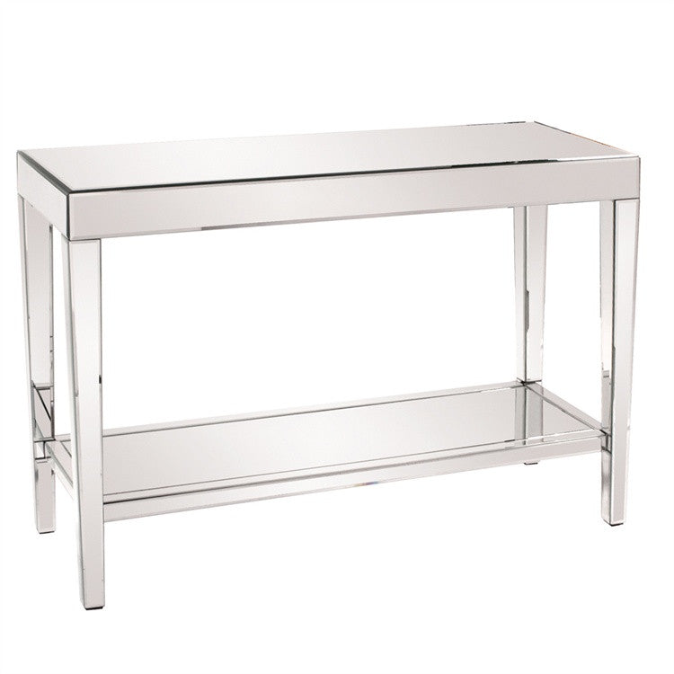 Simple Mirrored Console With Shelf, modern mirrored accent table, mirrored display table, contemporary console table