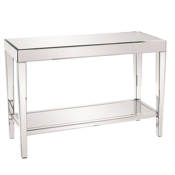 simple mirrored console with shelf modern mirrored accent table mirrored display table