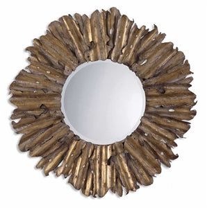 "The decorative hand forged and hand hammered metal frame has an antiqued gold leaf finish with burnished edges and a light gray wash. Mirror has a generous 1 1/4"" bevel."