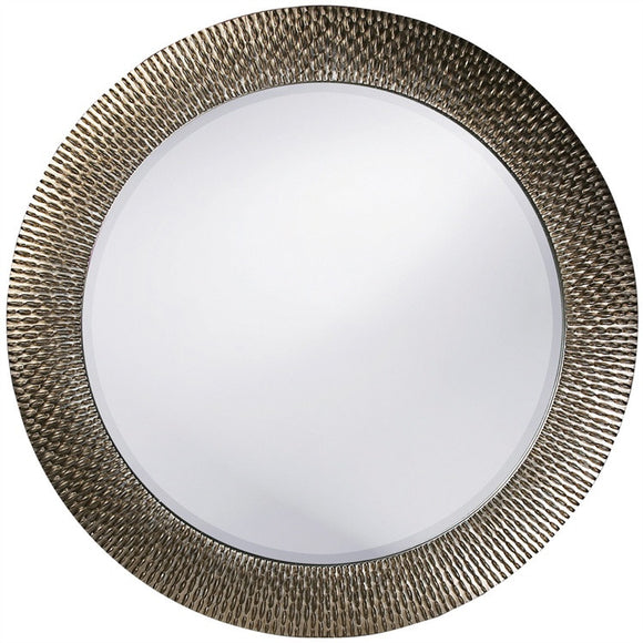 This round, resin mirror is highlighted with metallic touches. It has textured pieces that stick up giving the piece dimension and adds a starburst effect. This mirror is large and bold. It is great for large wall spaces that needs a dramatic piece.