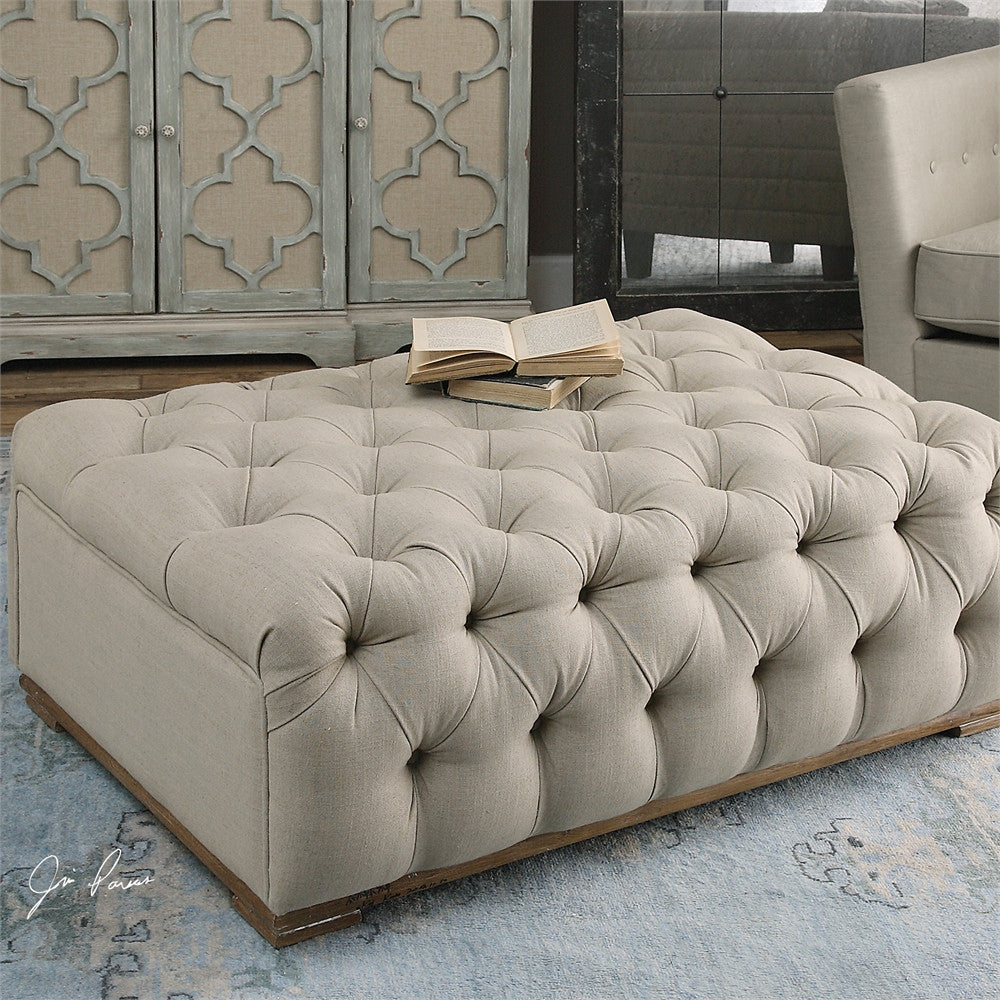 Diamond Tufted Rectangular Ottoman with linen fabric