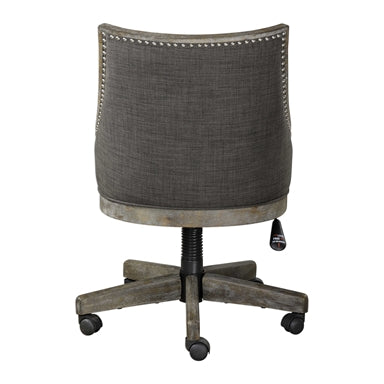 curved back design in warm charcoal gray linen, accented by polished nickel nail head trim