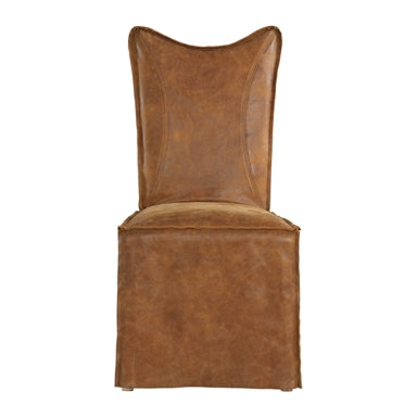 thick top grain nubuck leather slipcover chair in a distressed worn cognac with a tailored double stitched design and casual flange edges