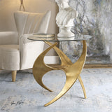 Antique Gold Metal base with round tempered glass top