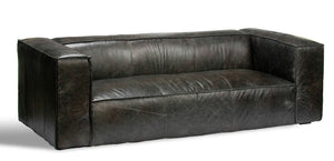 Hugo Antiqued Leather Sofa, modern leather sofa, contemporary leather sofa