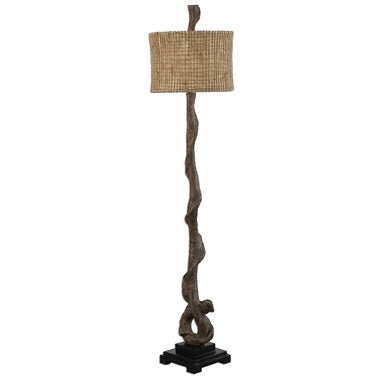Weathered driftwood finish with a matching finial and a matte black base. The round drum shade is burlap twine with an open weave construction and a beige inner liner.