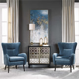 Hand painted artwork on canvas, featuring shades of blue, gold, bronze and white